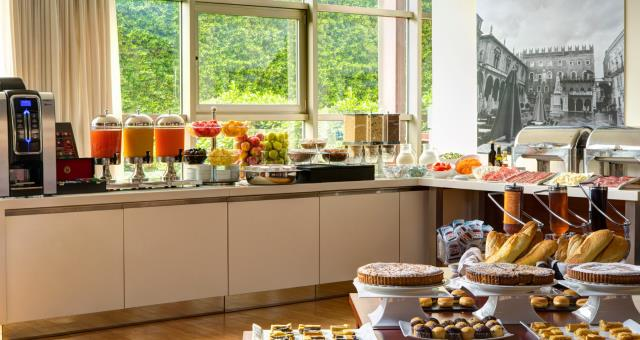A rich buffet breakfast for facing your workday or exploring the city of Verona